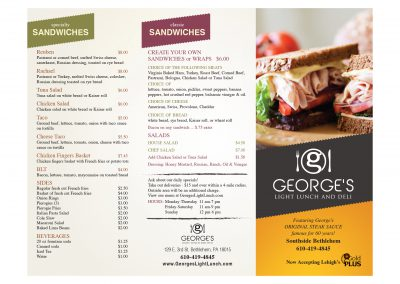 George's Light Lunch Brochure